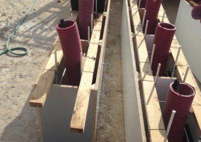 obras de instalación eléctrica en parque de Pradiel
